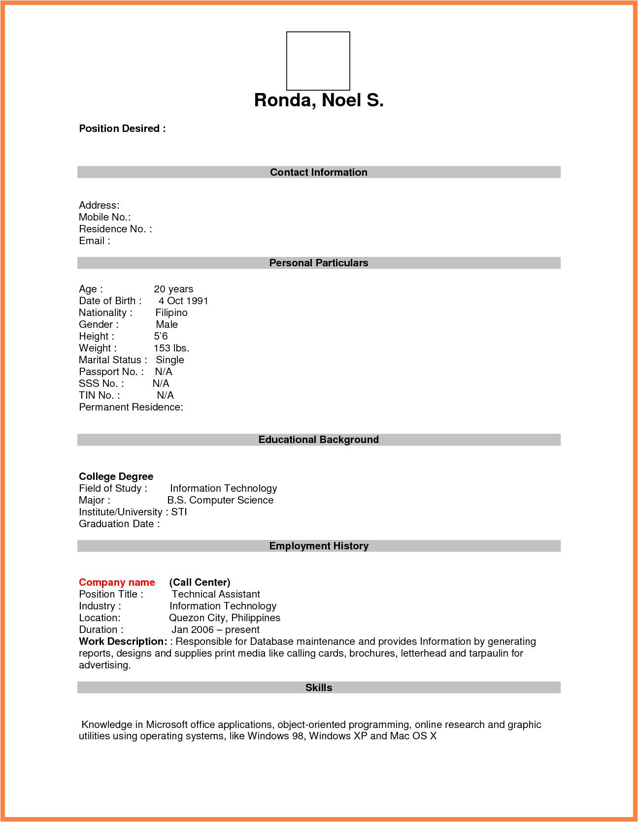 Free Job Application Resume Template format for Job Application Pdf Basic Appication Letter