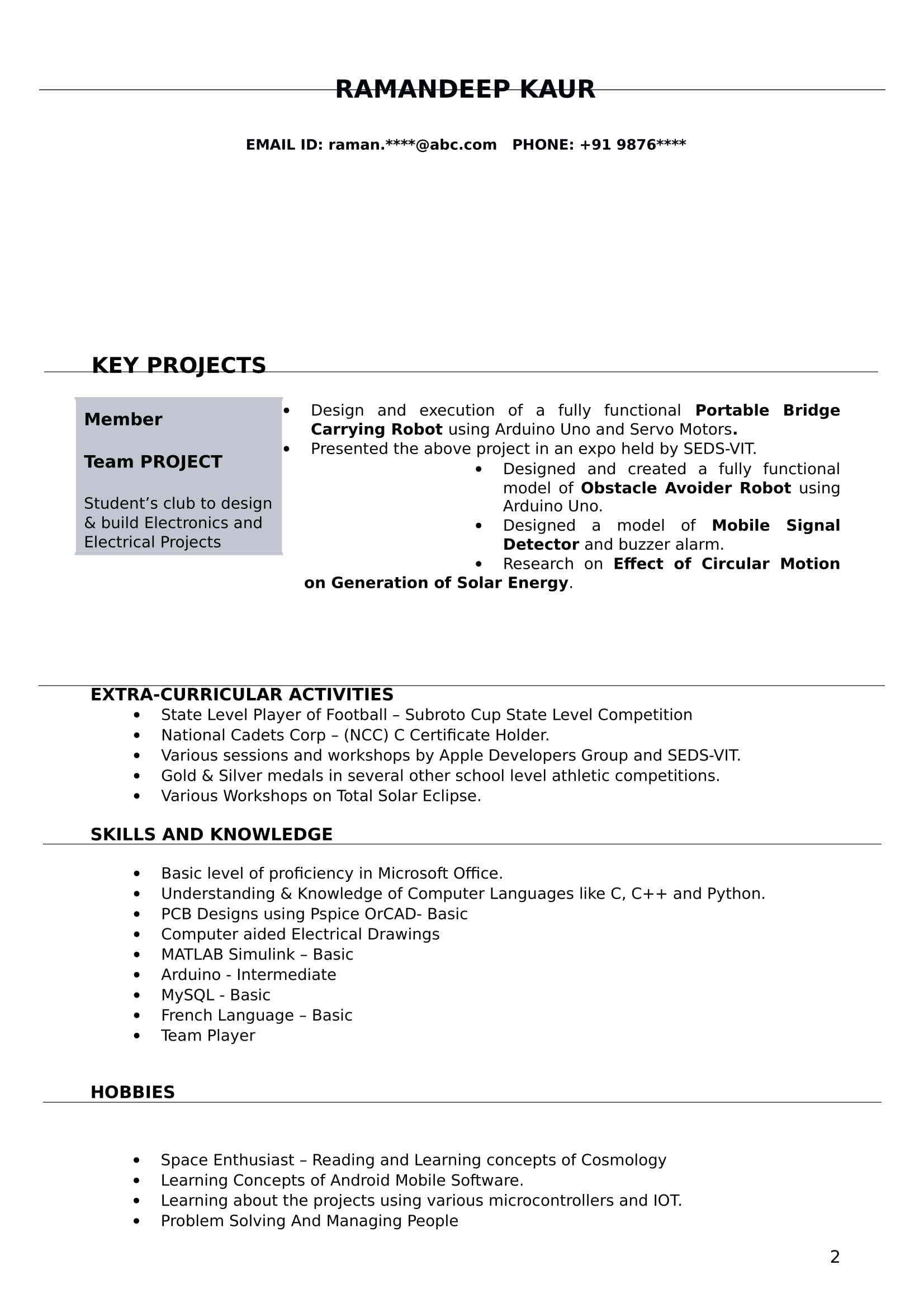 resume format for diploma electrical enginer fresher