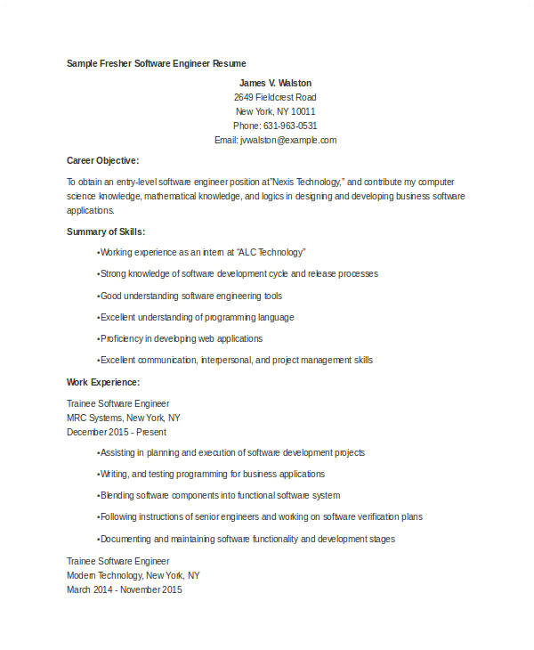 fresher engineer resume template