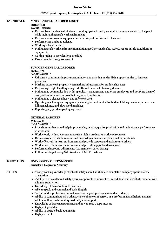 general laborer resume sample