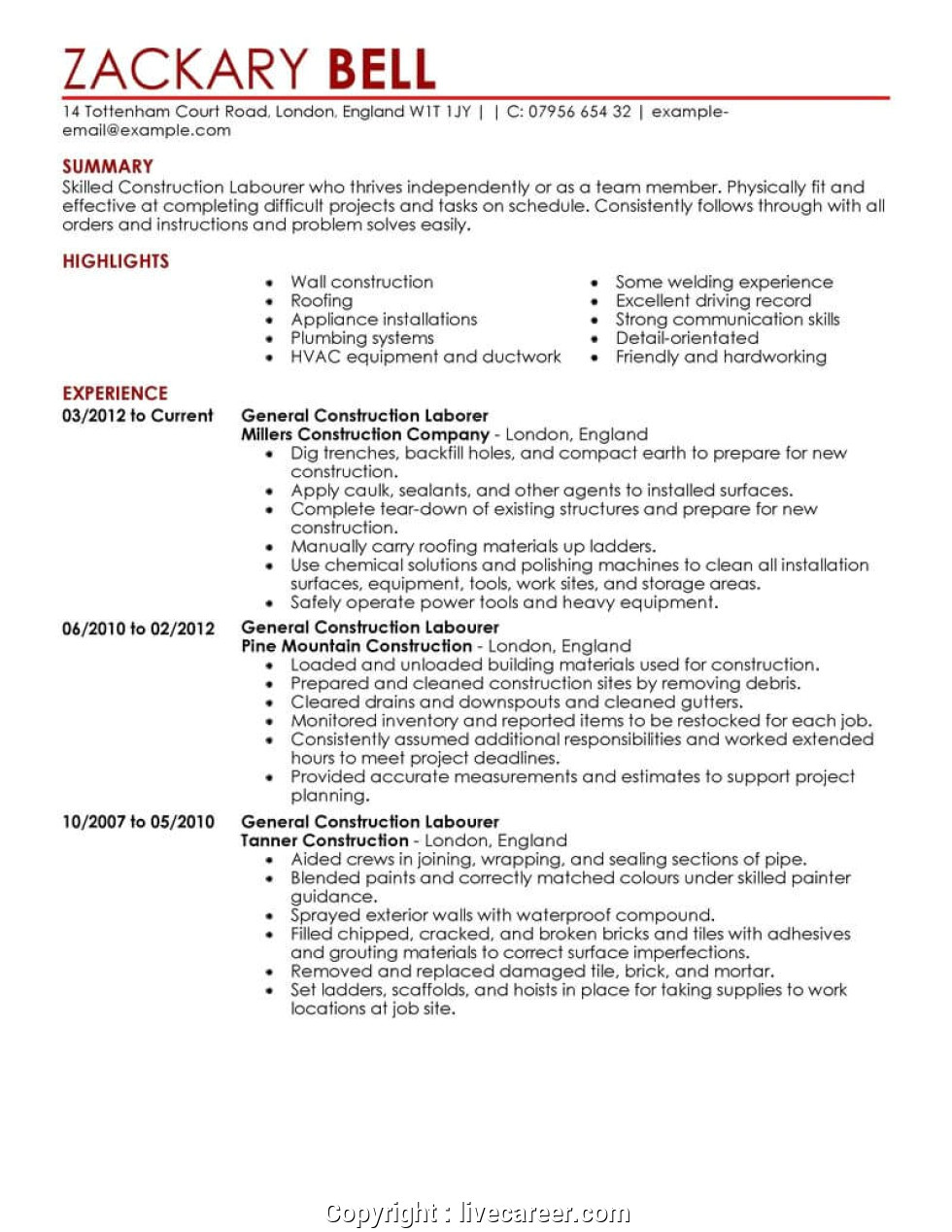 best general manager resume word template