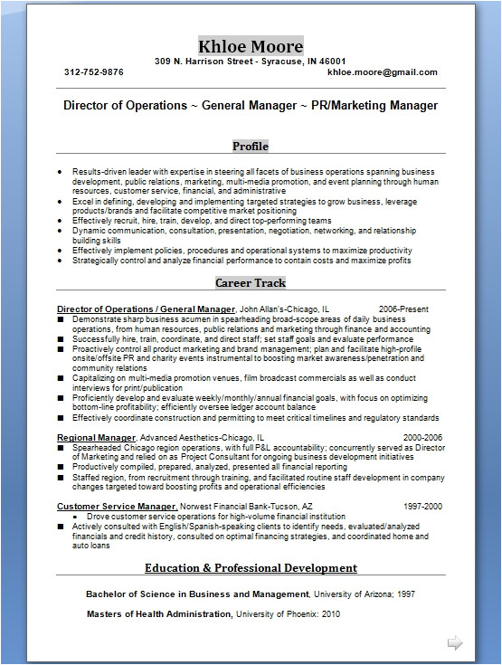 general manager resume creative format