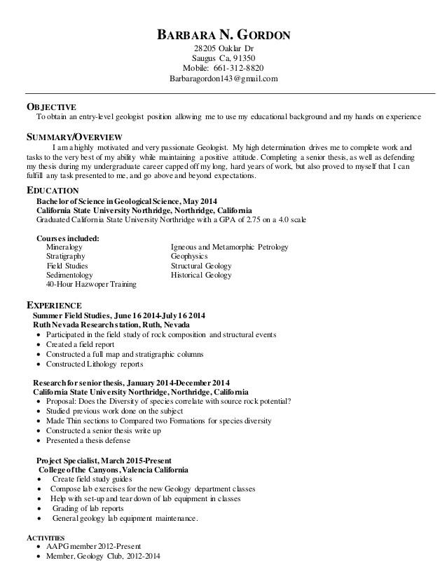 Geology Student Resume Geology Resume Template