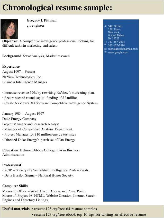 top 8 gis engineer resume samples