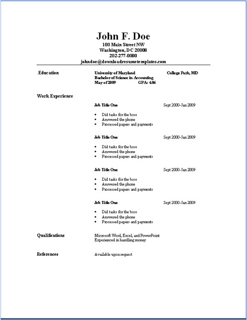 Good Basic Resume Basic Resume Templates Download Resume Templates