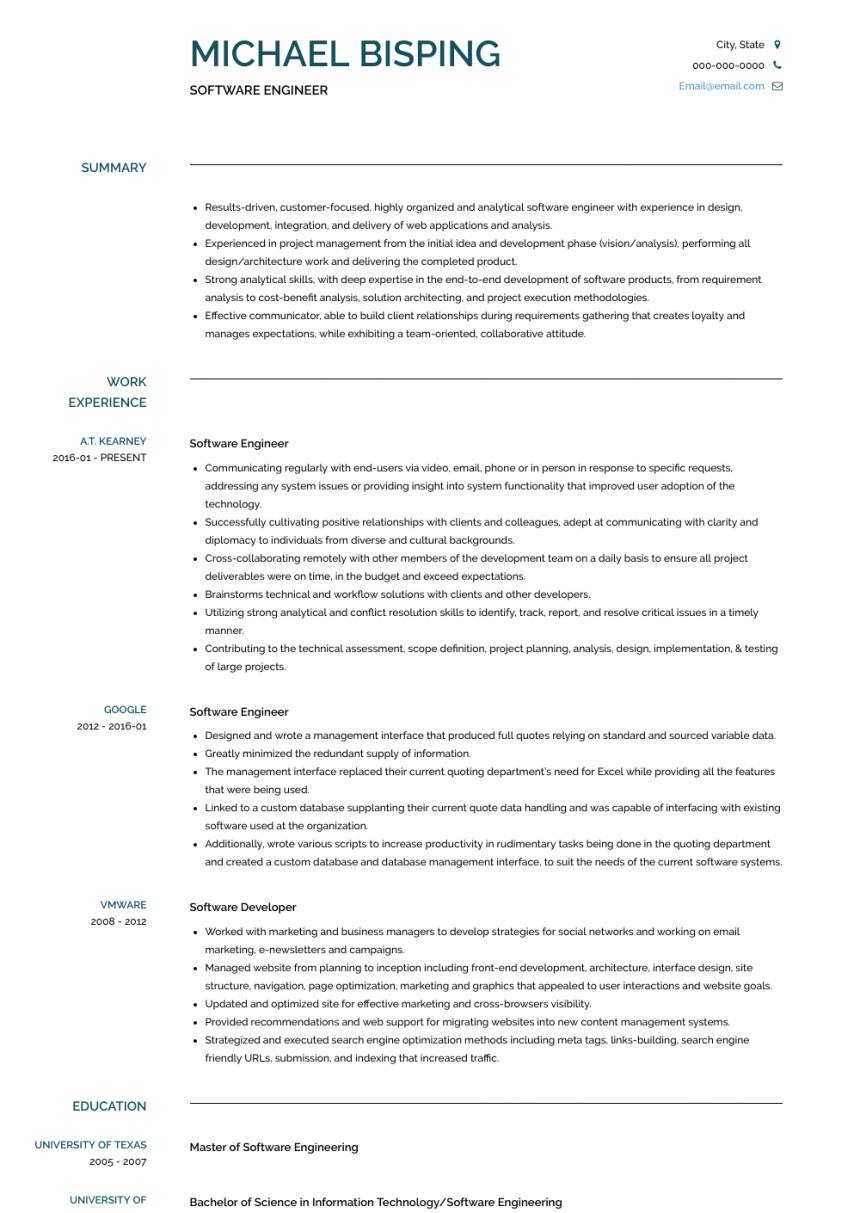 google software engineer resume sample