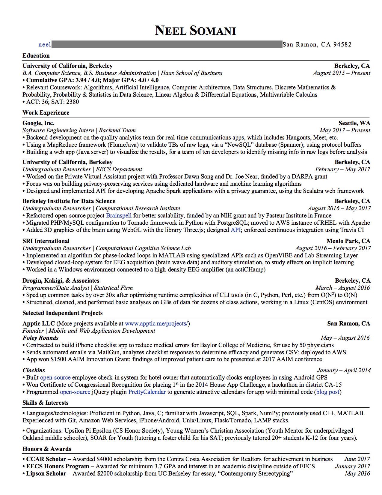 software engineer resume google