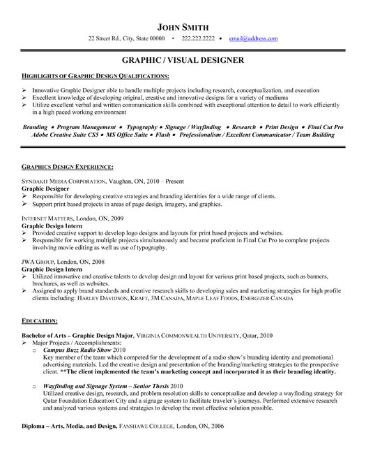 Graphic Design Student Resume Template top Graphic Designer Resume Templates Samples