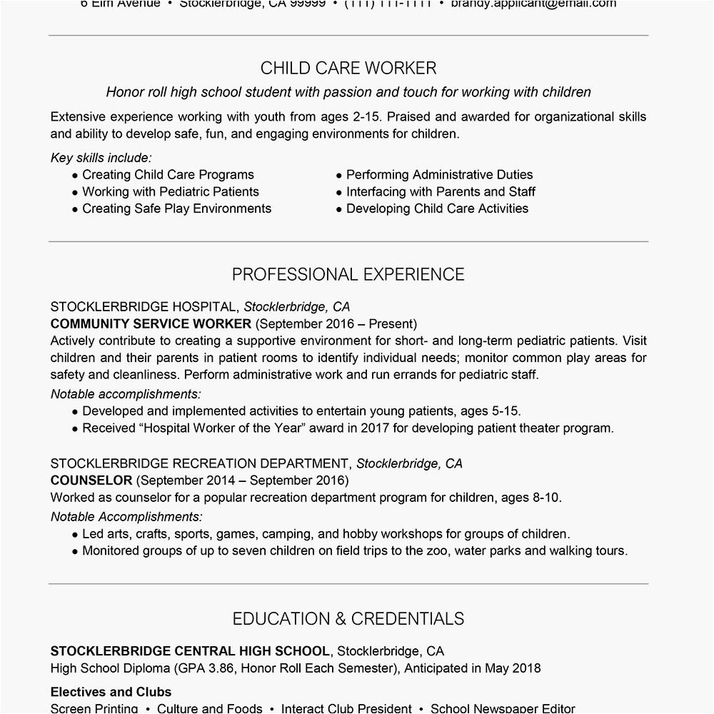 High School Student Resume Summary High School Resume Example with Summary