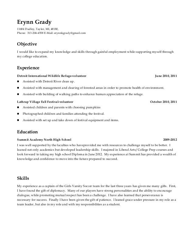 High School Student Resume Volunteer High School Resume Includes Volunteer Experience