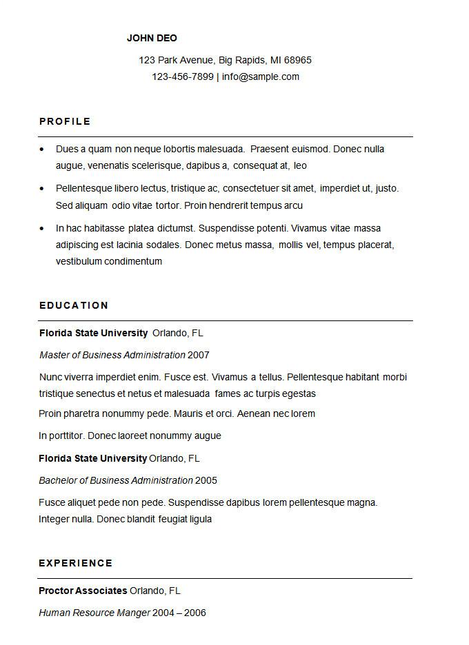 How A Basic Resume Should Look 70 Basic Resume Templates Pdf Doc Psd Free