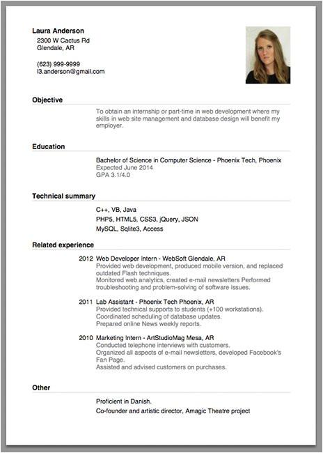 cv format job interview