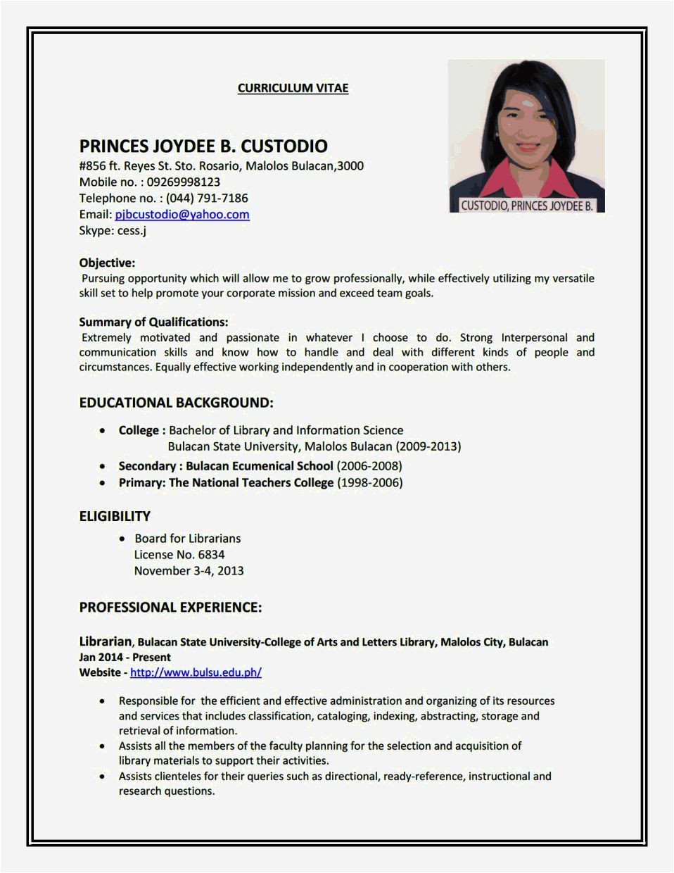 create a simple resume