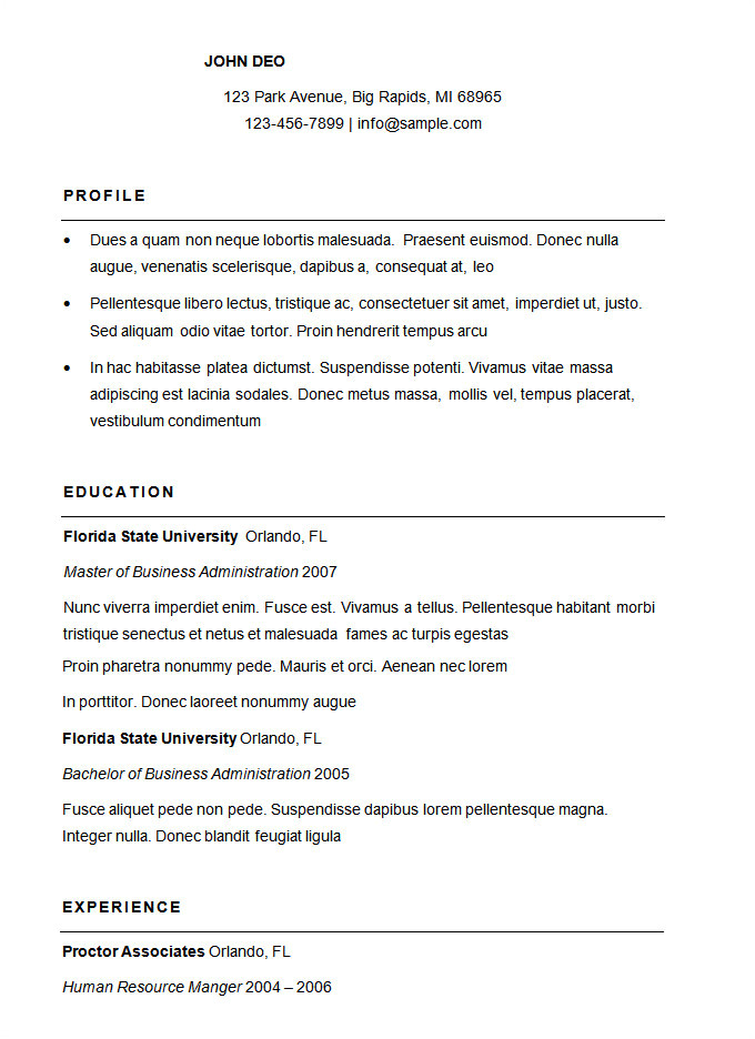 How to format A Basic Resume 70 Basic Resume Templates Pdf Doc Psd Free