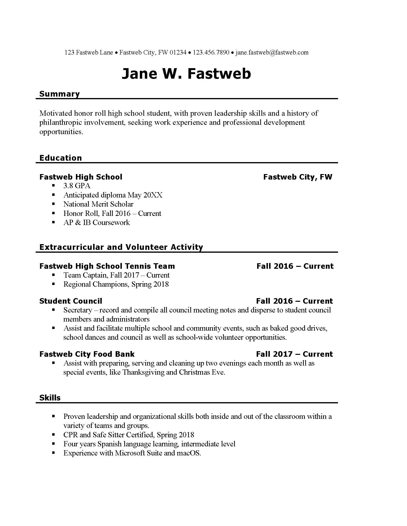 first part time job resume sample