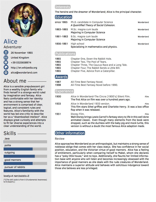cv tabular form resume templates