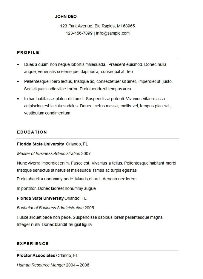 how to write a simple resume format