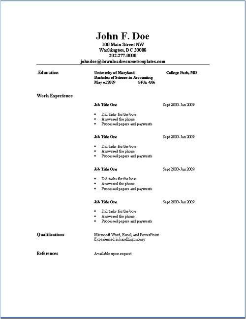 simple resume samples
