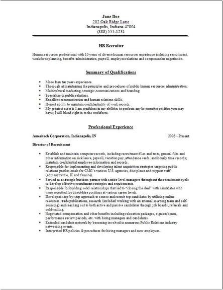 Hr Recruiter Resume Word format Hr Recruiter Resume Examples Samples Human Resources