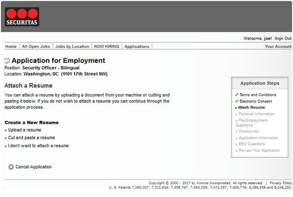 securitas job application