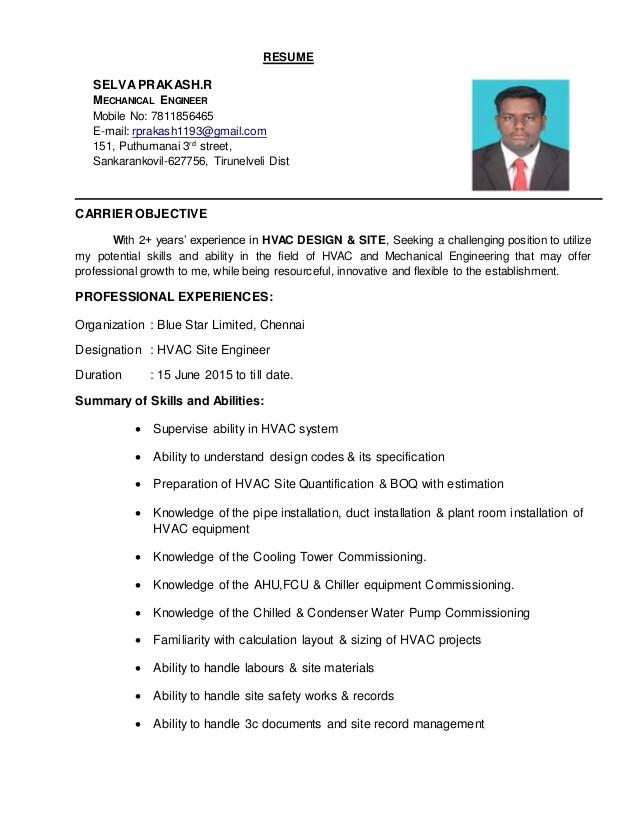 Hvac Engineer Resume Doc Hvac Engineer Resume