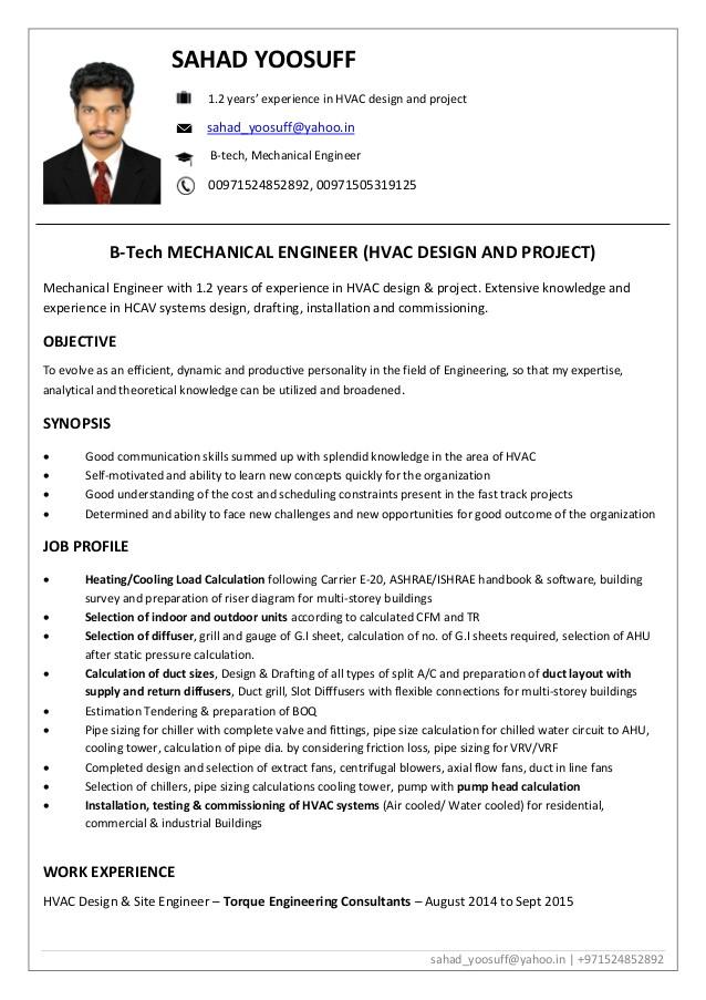 hvac design engineer cv