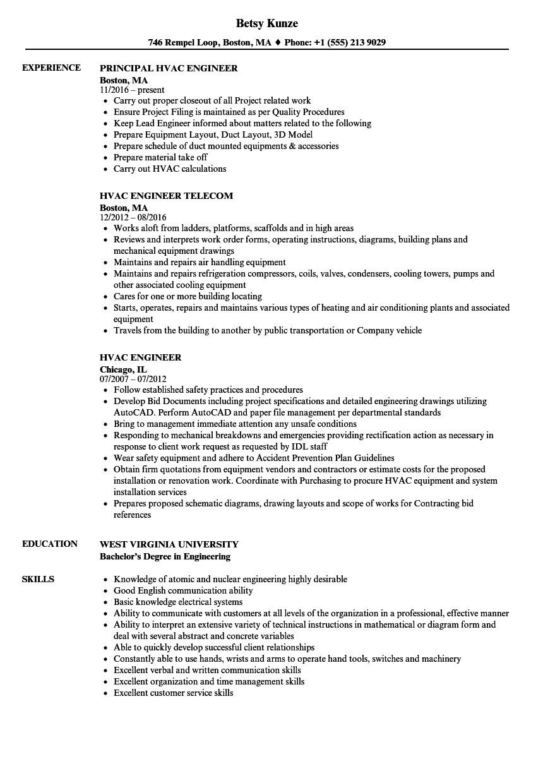 hvac engineer resume sample