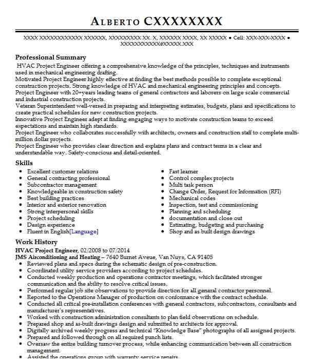 Hvac Project Engineer Resume Hvac Project Engineer Resume Sample Engineering Resumes