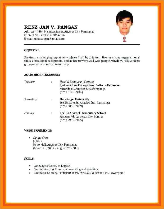 9 10 resume format sample