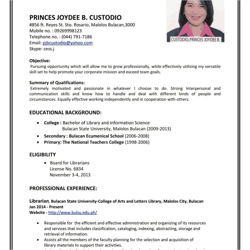 sample of good resume for job application