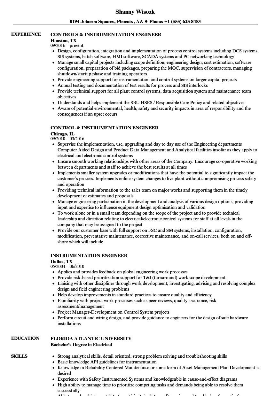 Instrumentation Engineer Resume Instrumentation Engineer Resume Samples Velvet Jobs