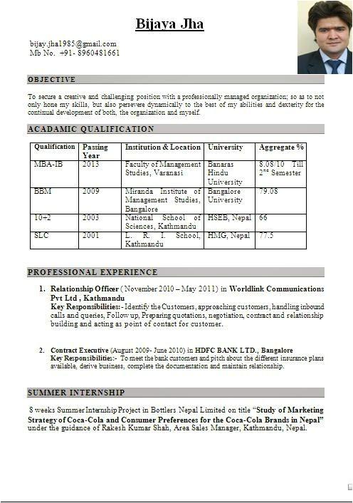 International Fresher Resume format Mba International Business Fresher Resume