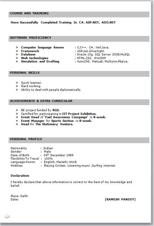 resume format for fresher 0