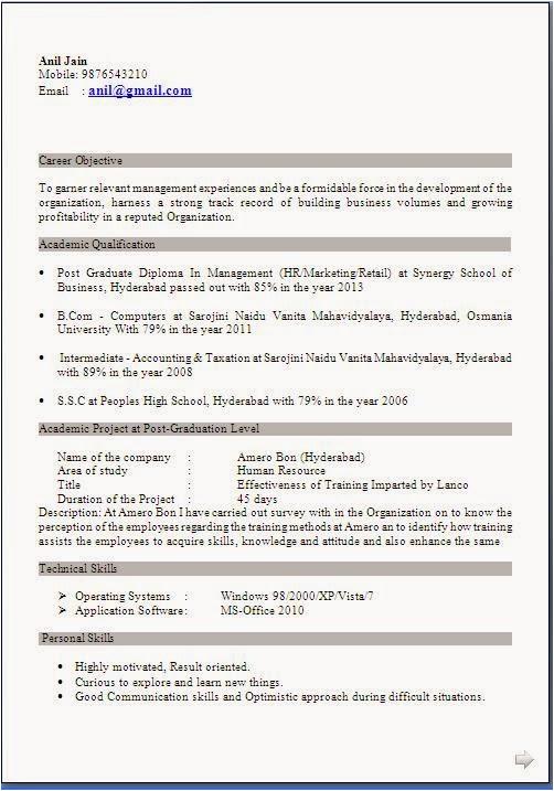 resume samples for freshers mba hr