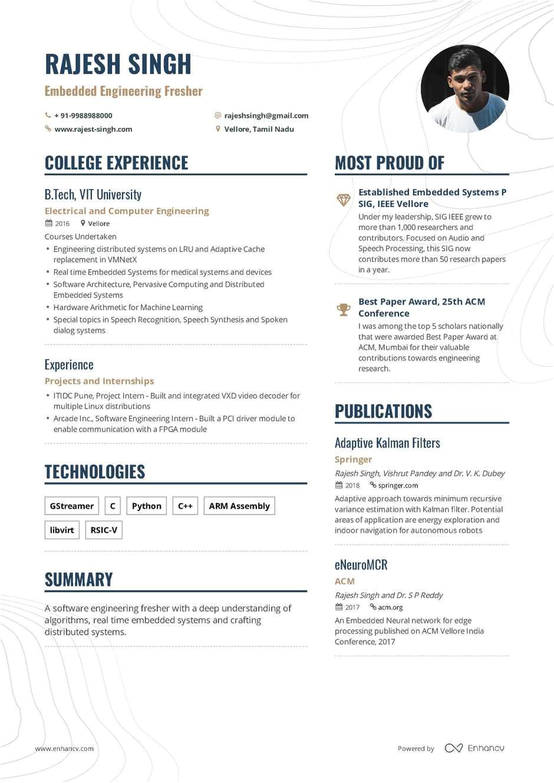 fresher intern resume