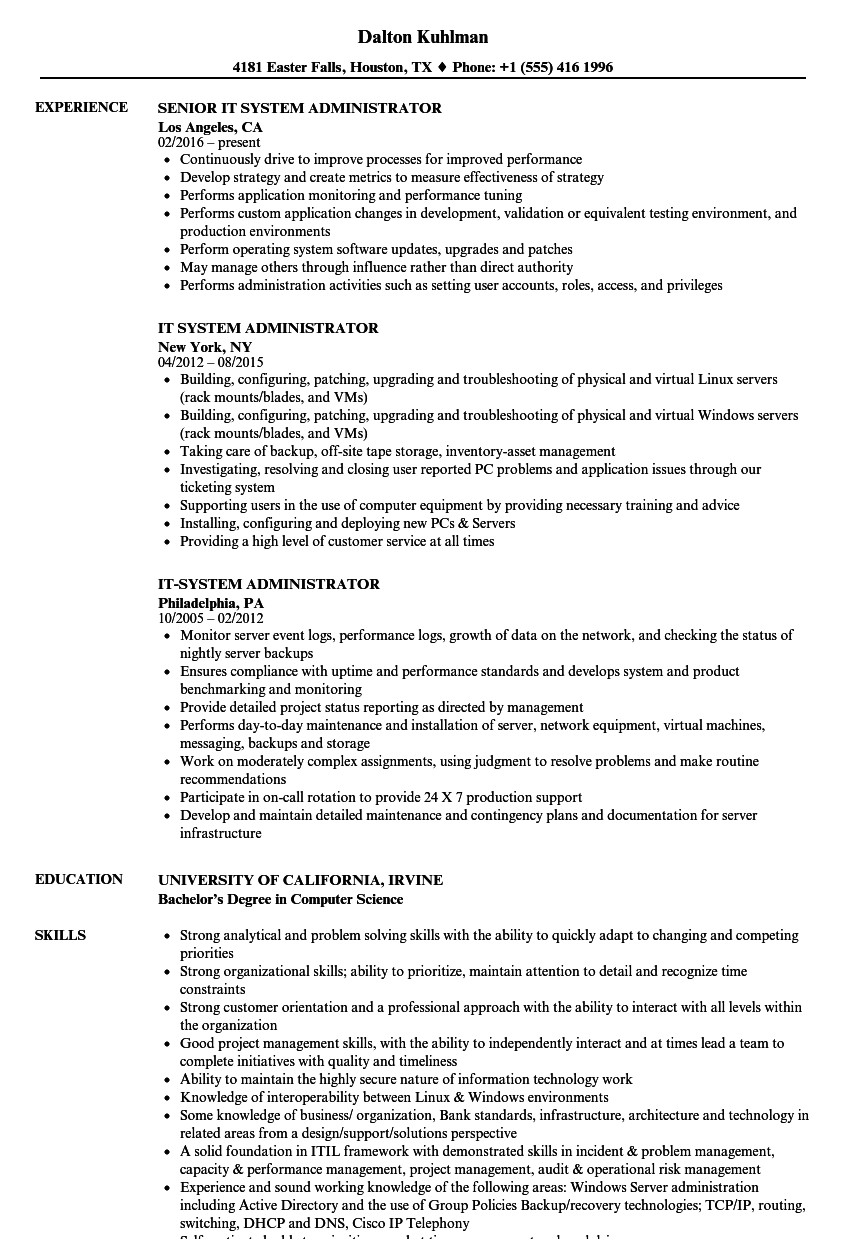It Administrator Sample Resume It System Administrator Resume Samples Velvet Jobs
