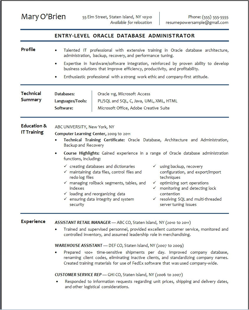 oracle database administrator resume sample
