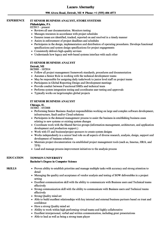 it senior business analyst resume sample