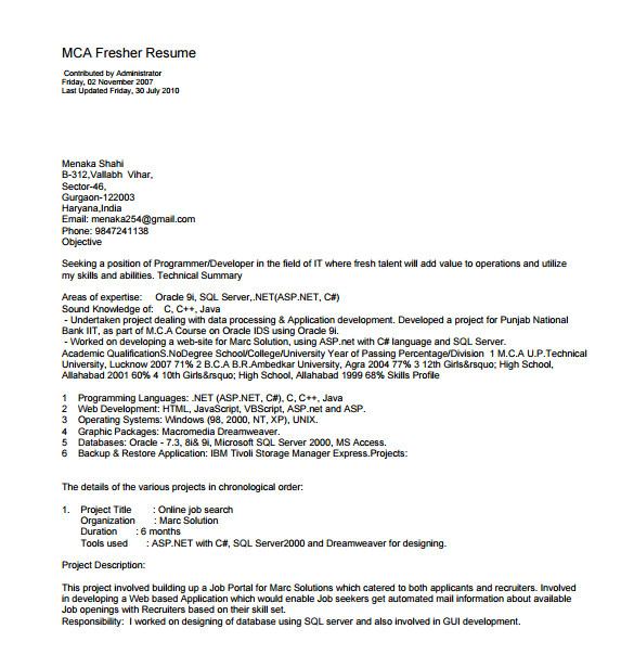 It Fresher Resume format Download In Ms Word Resume Template for Fresher 10 Free Word Excel Pdf