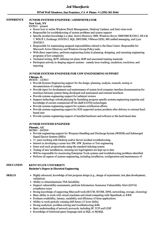 junior systems engineer resume sample