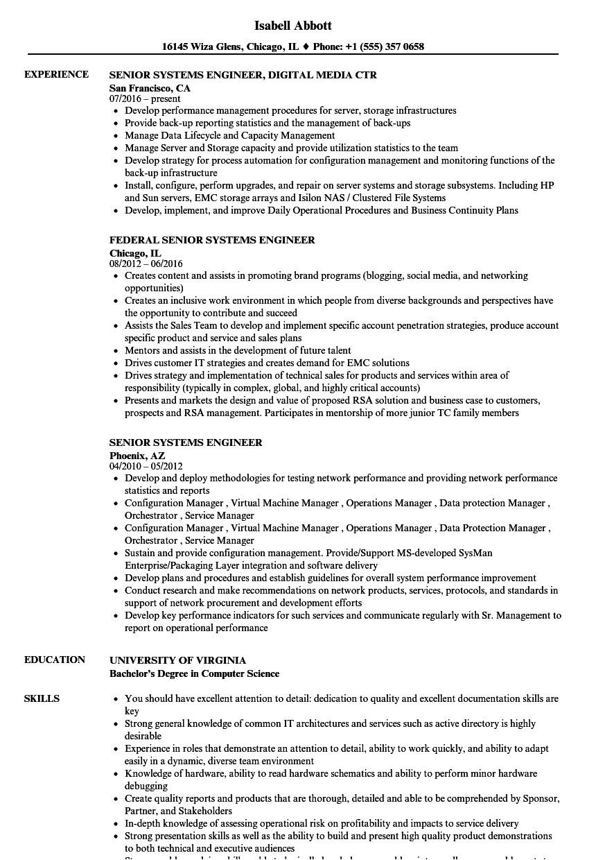 senior systems engineer resume sample