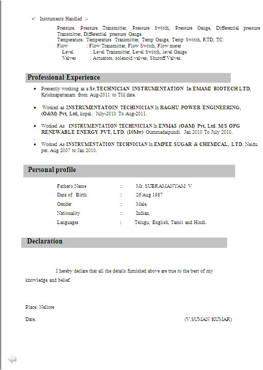 iti student resume format