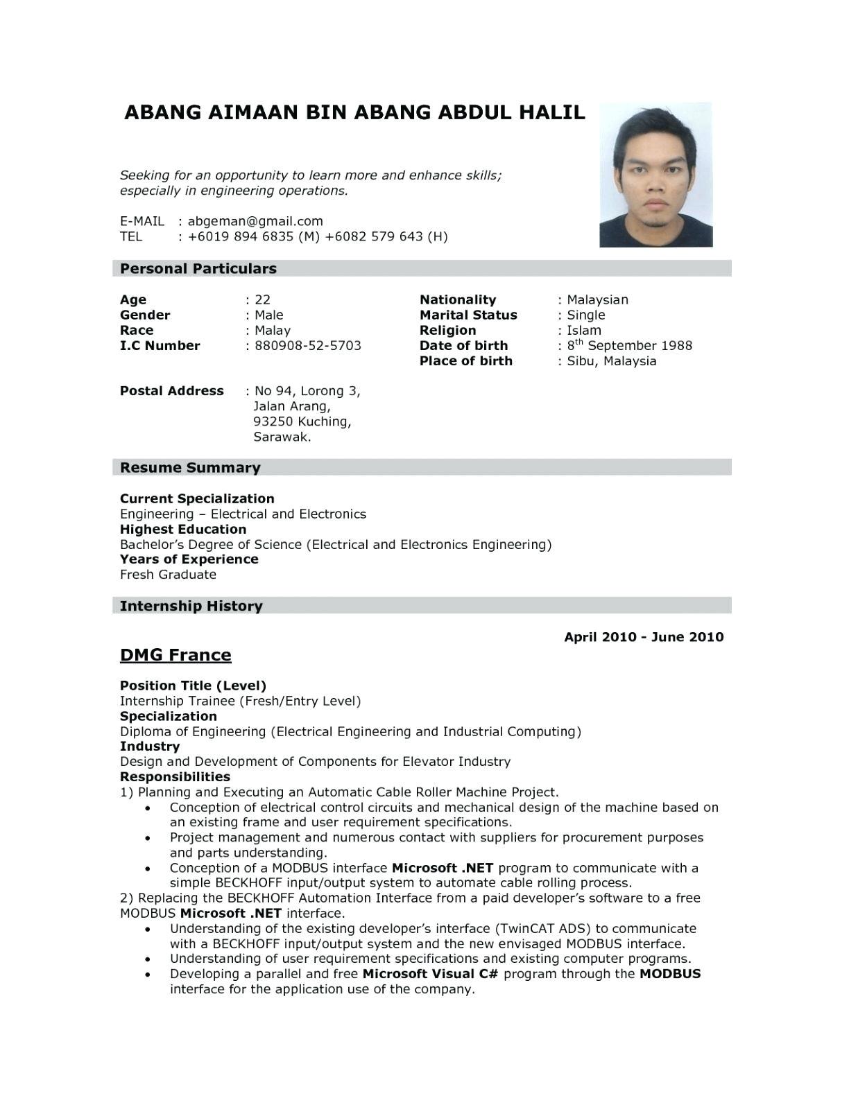 resume format for iti fitter fresher doc