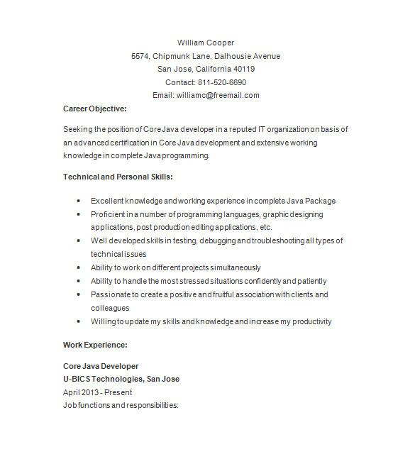 Java Basic Resume Java Developer Resume Template 14 Free Samples