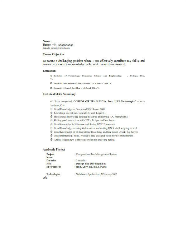 fresher resume templates