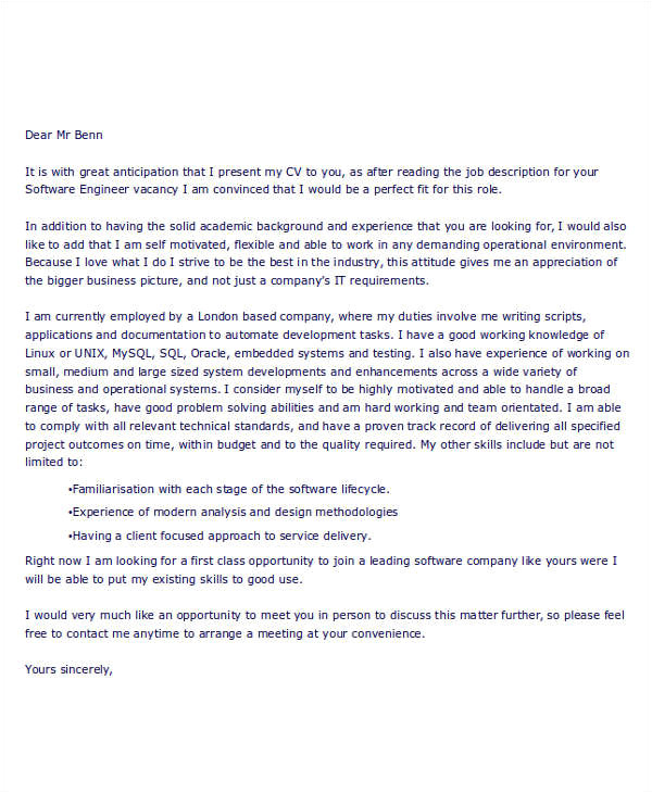 Job Application Letter for software Engineer with Modern Resume 9 Job Application Letters for Engineer Free Sample