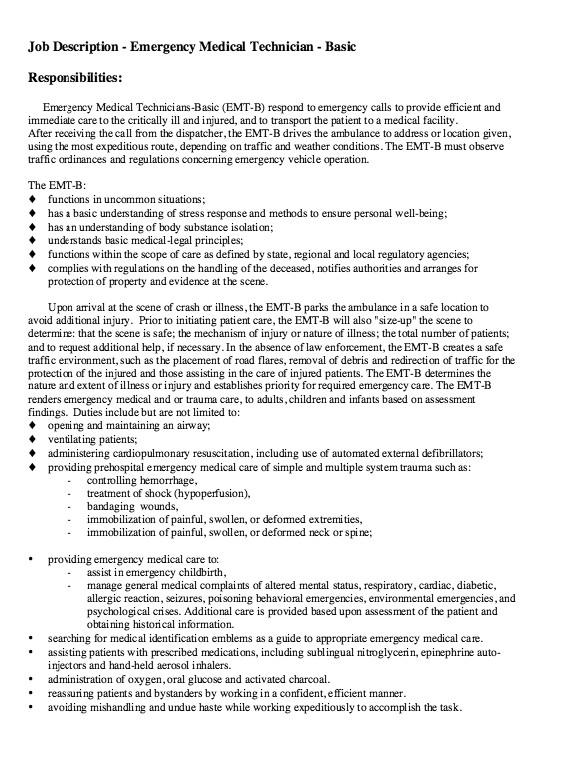 Job Description Of Emt Basic for Resume Pin by Ririn Nazza On Free Resume Sample Free Resume