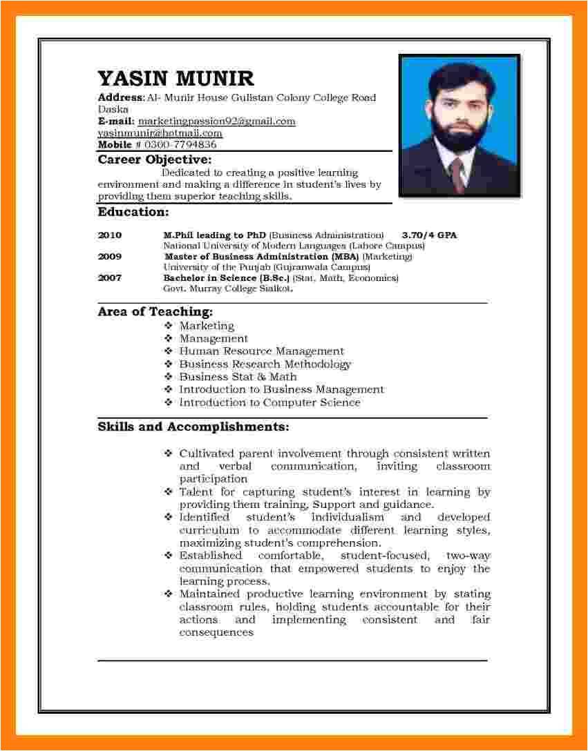 6 cv pattern for job