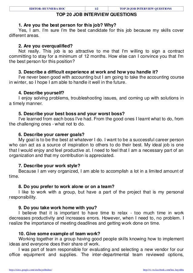 Job Interview Resume Questions top 20 Job Interview Questions Resume Tips Job