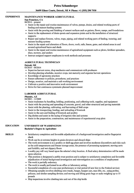 agricultural resume sample